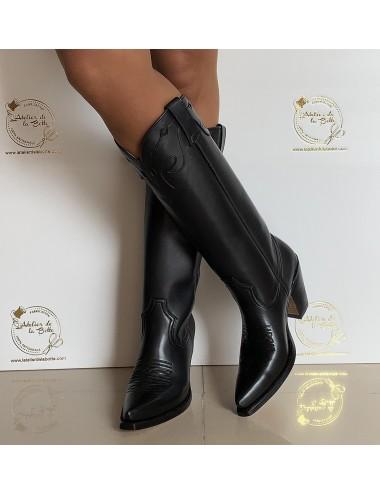 Bottes santiags hautes cuir noir - Bottes santiags country artisanales