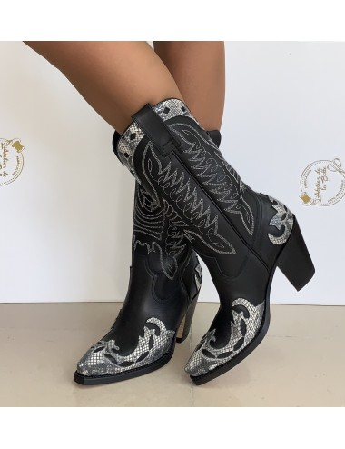Santiags femme cuir noires et blanches - Bottes santiags country