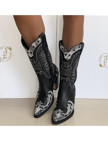 Santiags femme cuir noires et blanches - Bottes santiag et country