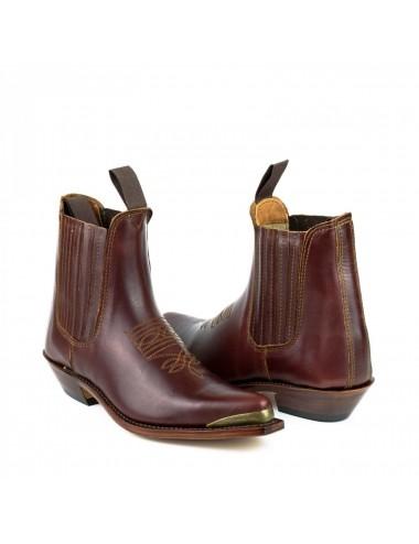 Boots cowboy cuir bordeaux bout ferré - Bottines cowboy artisanales