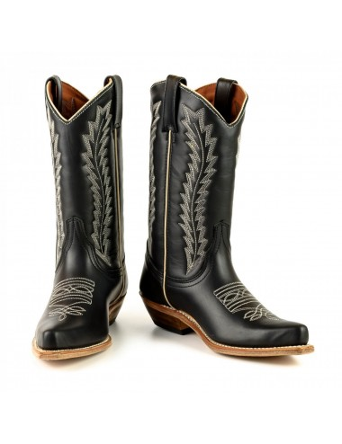 Santiags mexicaines cuir noir et blanches - Bottes santiags country