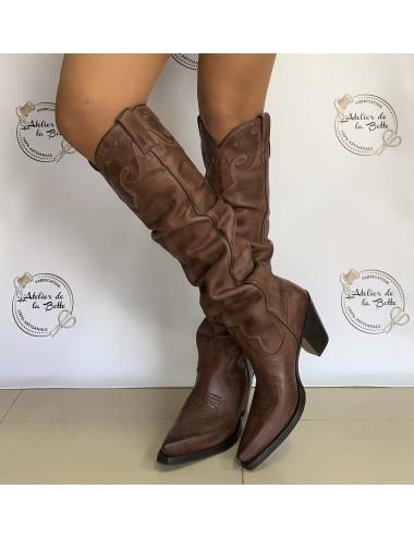 Santiags hautes femme vintage marron - Bottes santiags country artisanales
