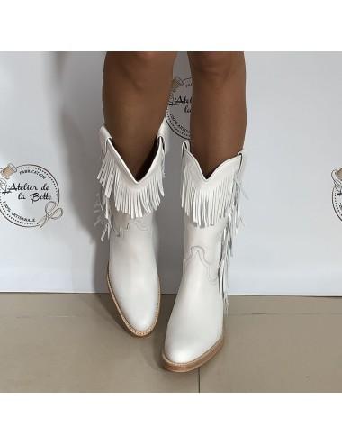 Bottes country cuir blanc franges femme - Bottes moto sur mesure