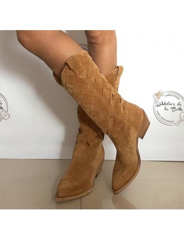 Bottes cowboy daim camel femme - Bottes santiag et country artisanales
