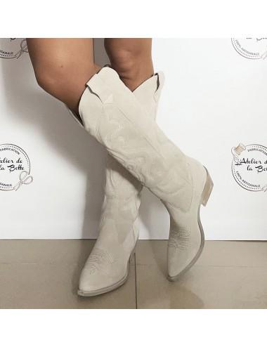 Bottes cowboy hautes daim gris femme - Bottes santiag et country