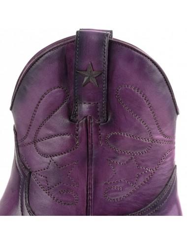 Bottines cowboy violettes en cuir - Bottes moto sur mesure