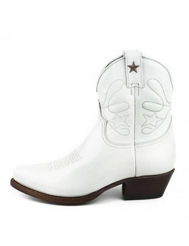 Boots cowboy blanches femme - Bottines femme artisanales