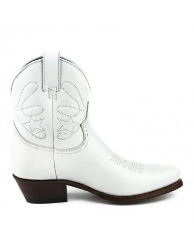 Boots cowboy blanches femme - Bottes moto sur mesure