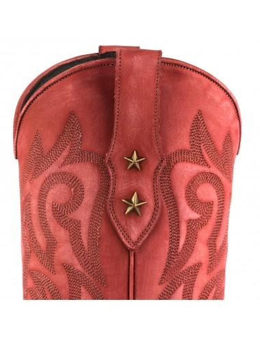 Santiags femme cuir rouge - Bottes santiag et country artisanales