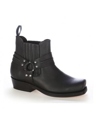 Boots western cuir marron bout carré - Bottes moto sur mesure