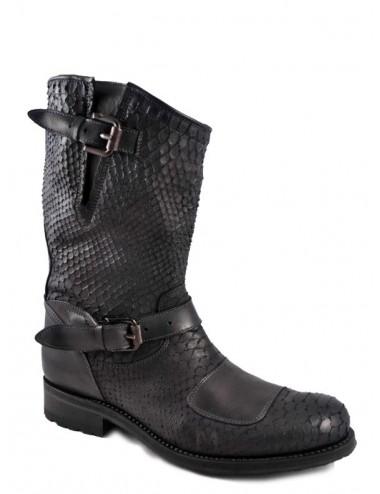 Bottes motardes cuir serpent noir - Bottes moto artisanales