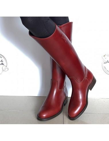 Bottes cavalières cuir rouge vintage - Bottes moto sur mesure