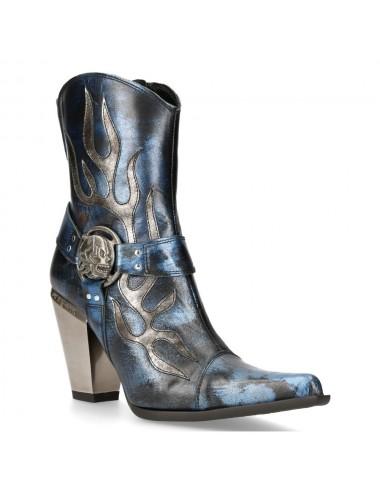 Bottines rock cuir bleu jean et argent femme - Bottes moto sur mesure
