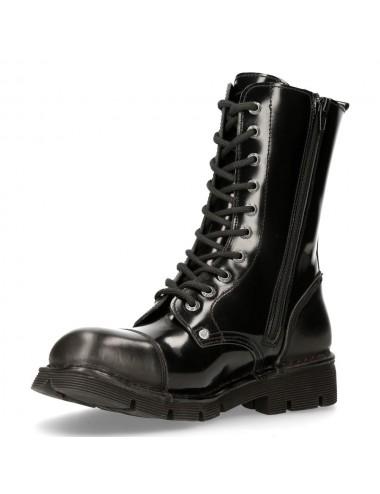 Bottes rangers cuir glacé noir - Bottes moto sur mesure