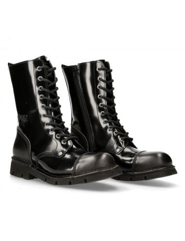 Bottes rangers cuir glacé noir - Boots bikers & rangers artisanales