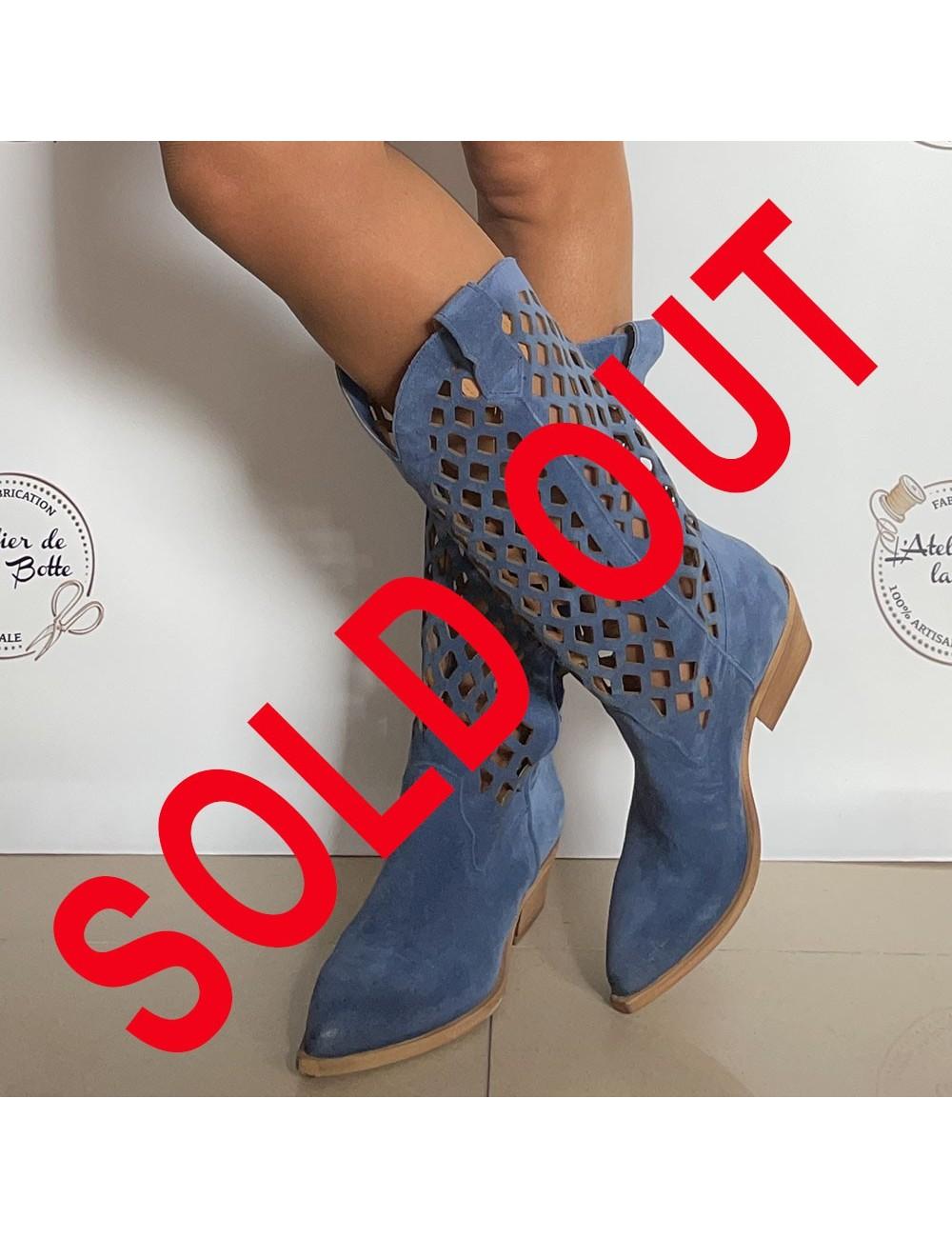 Bottes cowboy bleu jeans en daim - Accessoires pour chaussures
