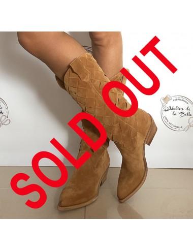 Bottes cowboy daim camel femme - Accessoires pour chaussures
