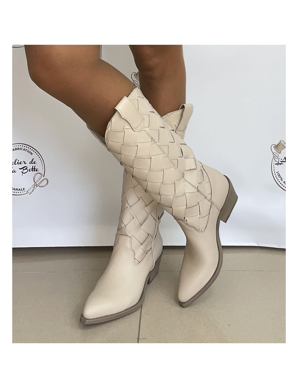 Bottes cowboy cuir beige femme - Accessoires pour chaussures