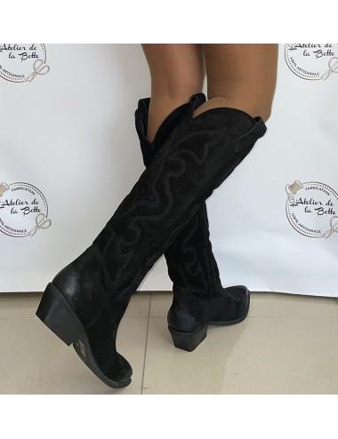 Bottes cowboy hautes daim noir femme - Accessoires pour chaussures