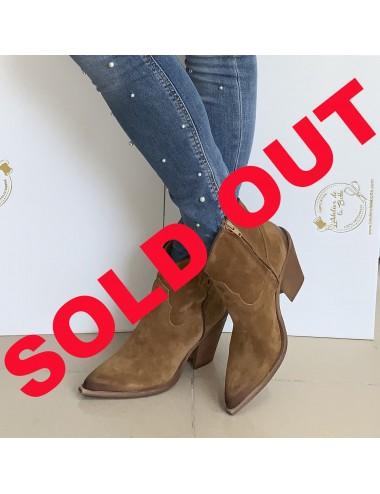 Bottines cowboy daim camel femme - Accessoires pour chaussures