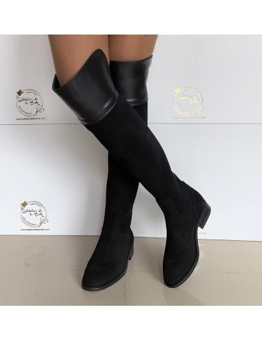 Bottes cuissardes plates en daim noir - Accessoires pour chaussures