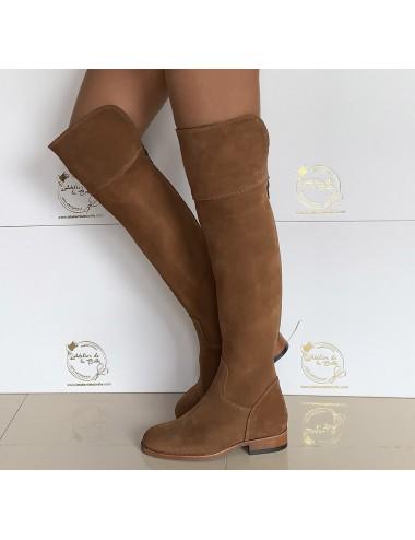 Bottes genouillères femme daim camel - Accessoires pour chaussures