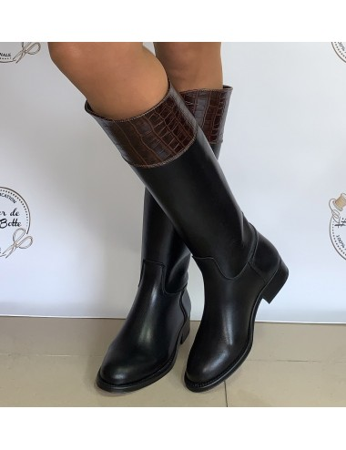 Bottes cavalières cuir et croco bicolores - Accessoires pour chaussures
