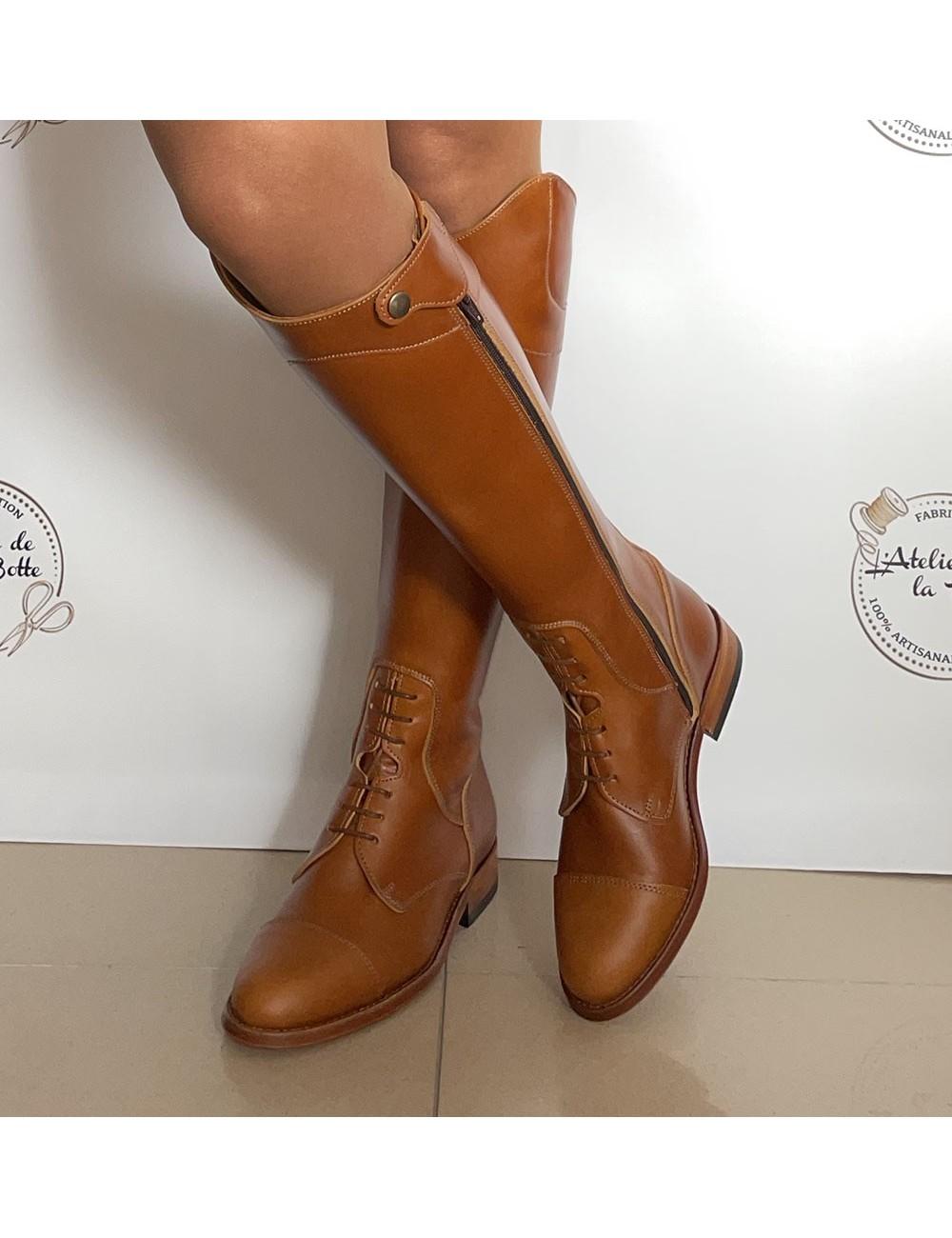 Bottes cavalières cuivre en cuir - Accessoires pour chaussures