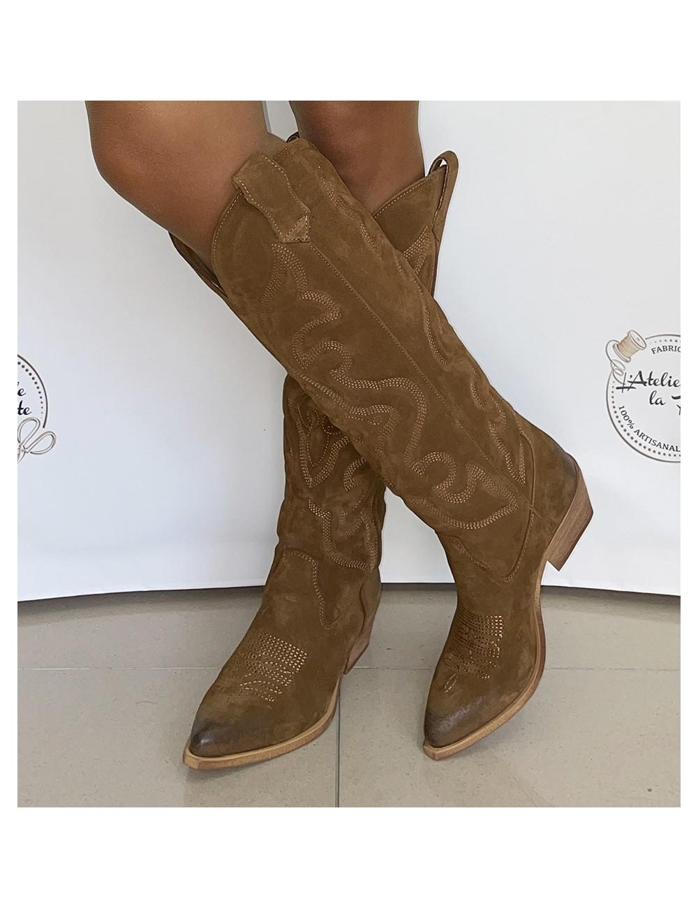 Bottes cowboy hautes daim Camel femme - Accessoires pour chaussures