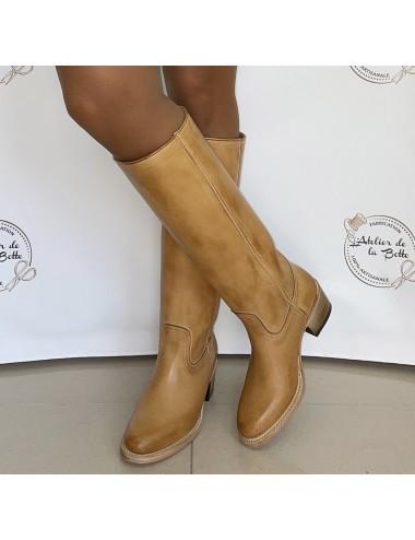 Bottes cavalières vintage camel - Accessoires pour chaussures