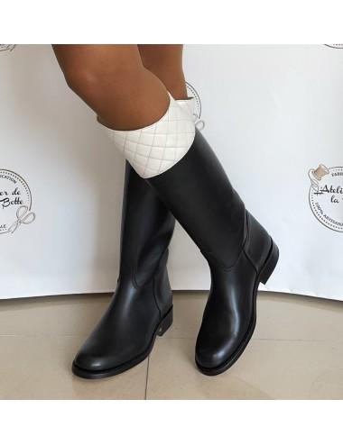 Bottes cavalières cuir noir et blanc - Accessoires pour chaussures