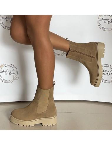 Bottines daim beige semelle crantée - Accessoires pour chaussures
