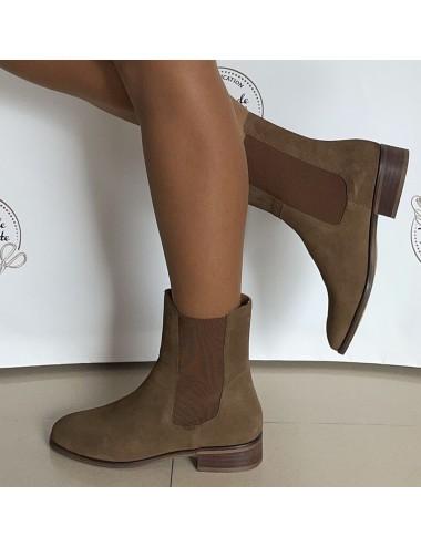 Bottines Chelsea daim camel femme - Accessoires pour chaussures