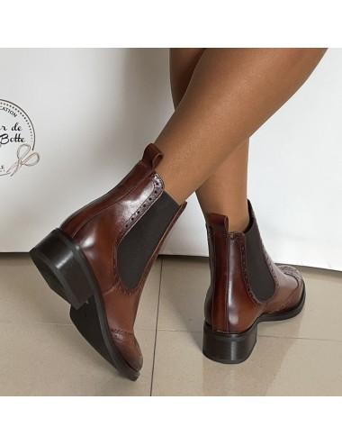 Bottines anglaises marron glacé femme - Accessoires pour chaussures